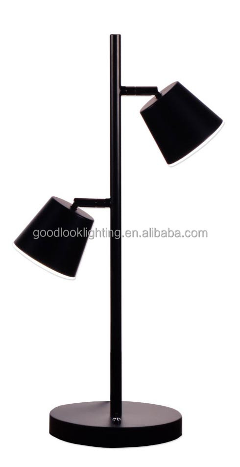 (C)UL&ETL listed Modern metal adjustable matt black finish W/acrylic diffuser LED hotel table lamp/desk lamp