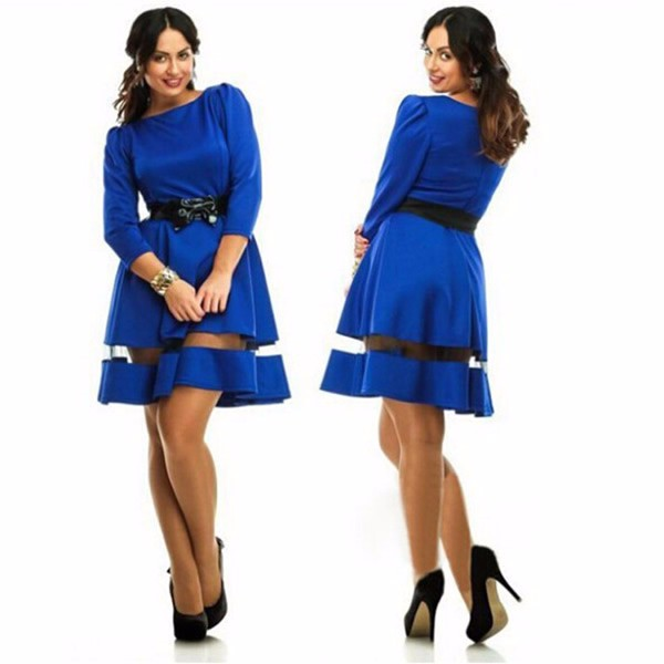 Gauze & Polyester Plus Size Autumn and Winter Dress,patchwork fashion formal dress