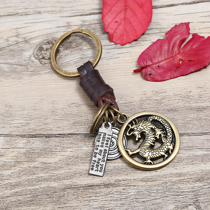 Wholesale Alloy Dragon Shaped Keychain Handmade Braided Genuine Leather Key Chain Metal Keyrings For Men Car