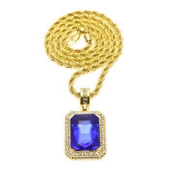 85459cedc91b8 Hot Sale Mens Big Sintético Rubi Safira Esmeralda Pingente Com Correntes de  Ouro