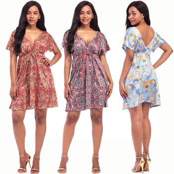 Ladies Western Fat Sexy Night Dress Plus Size Floral Design African