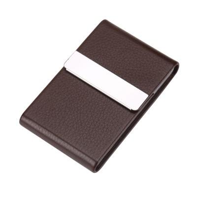 Professional Stylish Metal Leather Business Card Holder Case Slim Magnetic Shut
