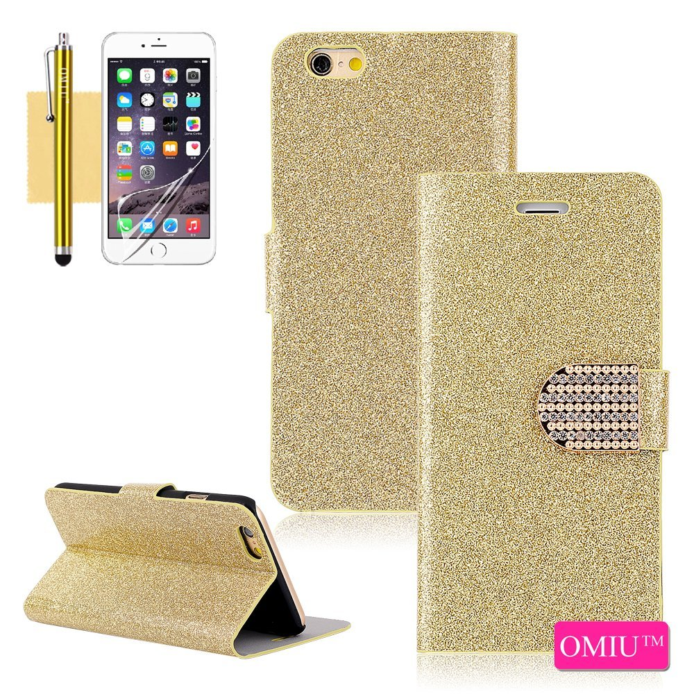 iPhone 6 Case, OMIU(TM) [Glitter Crystal Bling Powder Shell Design] Bran-new Fashional Flip Magnet Wallet Premium PU Leather Stand Case Cover Protector Fit For Apple iPhone 6(4.7)(Golden), Sent Screen Protector+Stylus+Cleaning Cloth