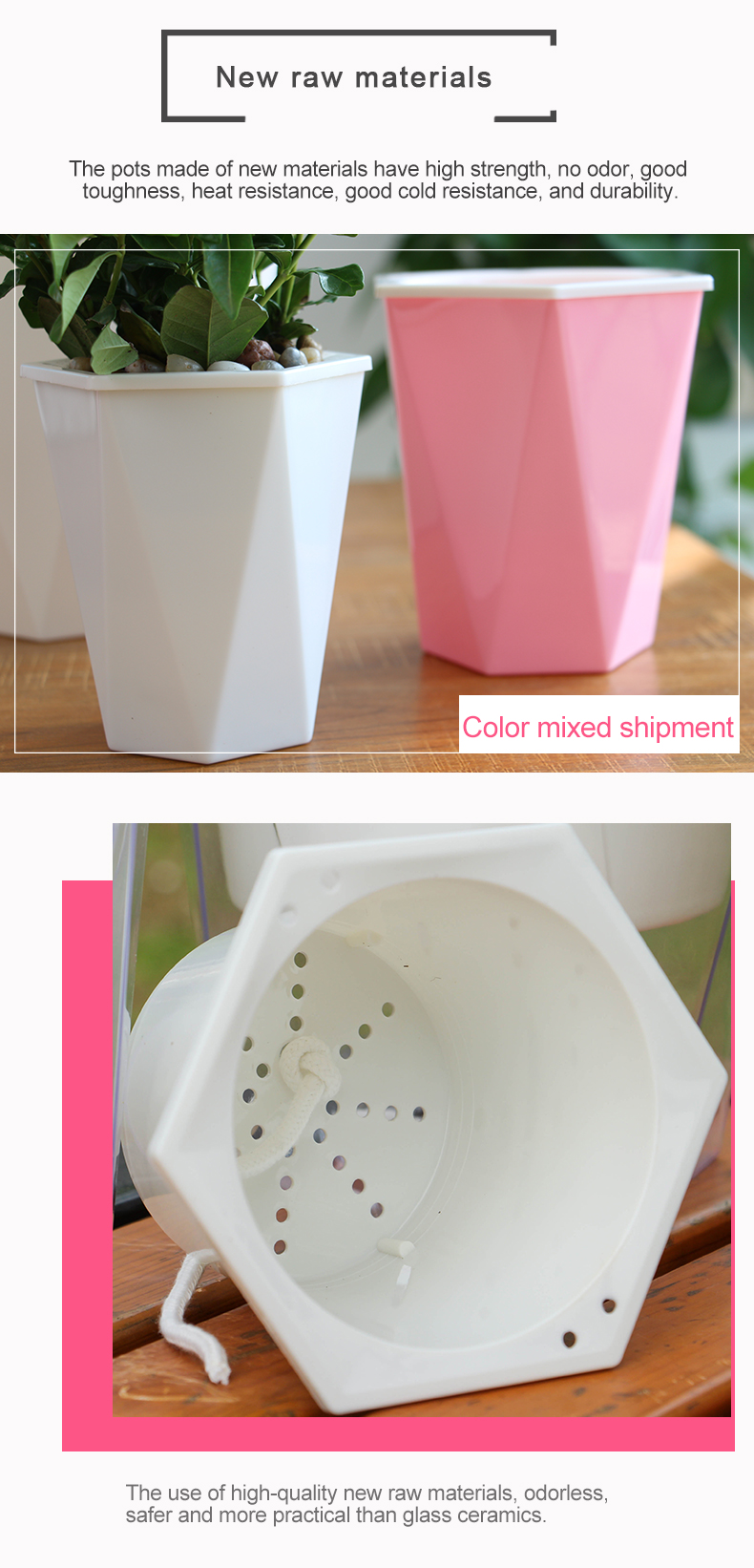 Free sample self watering diamond colorful pp material orchid flower pot with indoor garden decorations