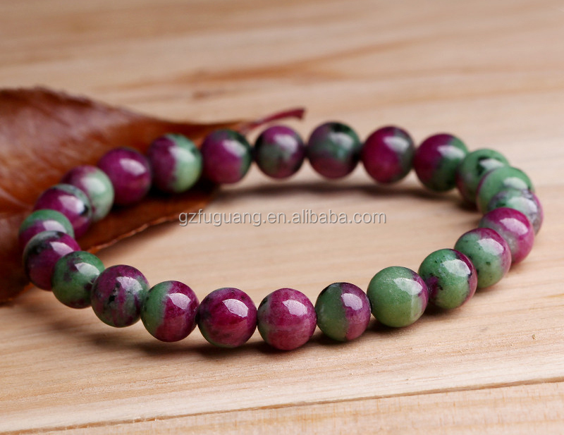 8mm Round Natural Ruby Zoisite Genuine Precious Stretch Bracelet Gemstone Beads Loose Product On