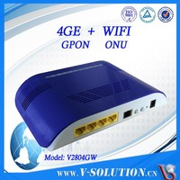 mini Blue Plastic Housing Wireless 4 GE Ports GPON WiFi ONU Optical Network Unit