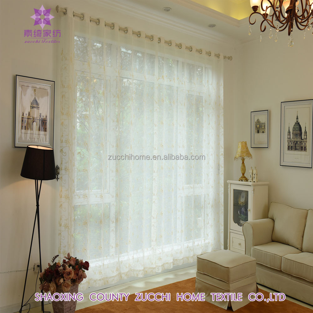 Sheer Floral Pattern Embroidered grommet curtain panel