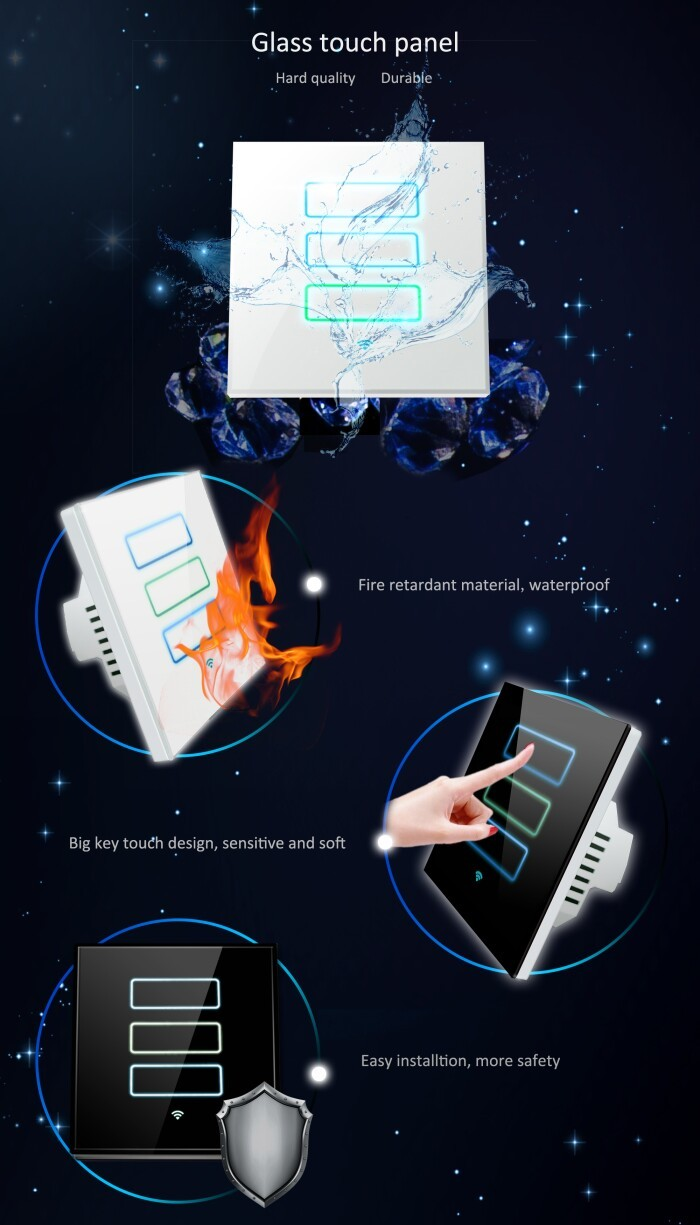 3 Gang Way Wall Switch Not Zigbee Voice Control By Turning On Mobile App