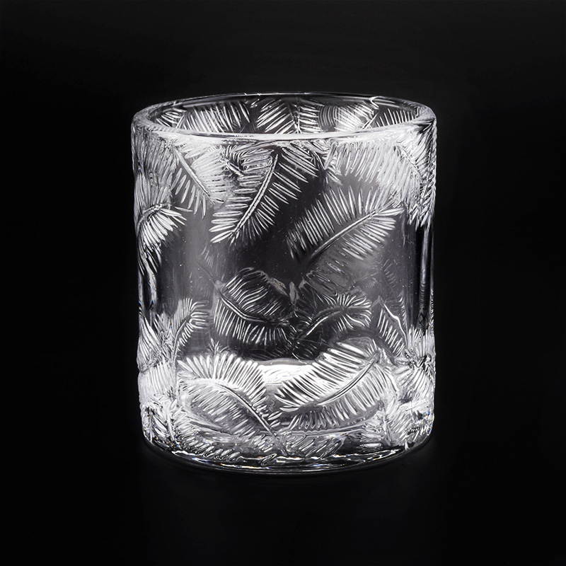 luxury embossed pine glass candle jar