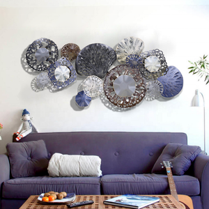 Blue Cutout Making Round Wall Art Flower With Metal Iron Material For Wall Deocr
