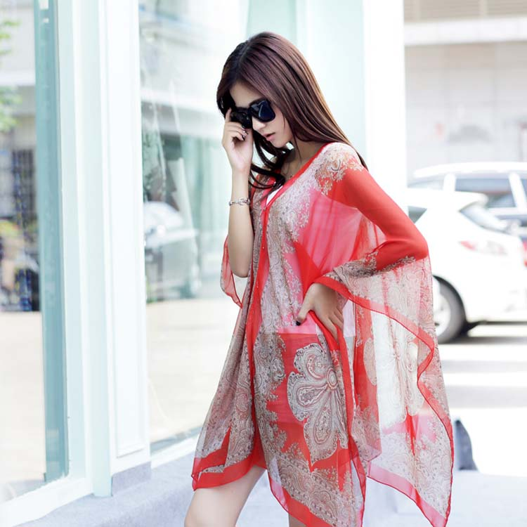 Newest printed women summer cooling sun shade dress beach shawl with buttons
