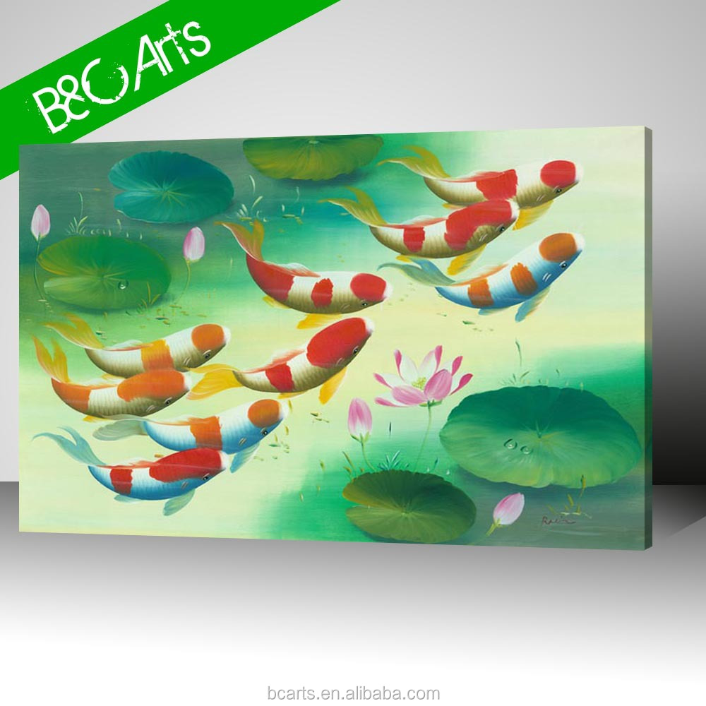 Lotus lake painting sea animal wall art colorful fish painting