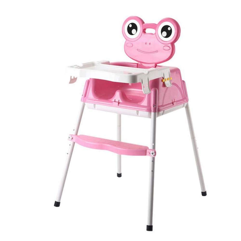 TTrar Portable Folding Chair Portable Foldable Baby Highchair, Short Sliding Stool + Adjustable Dining Chair + High Adult Stool Contempo Highchair,Frog Cartoon Convenient and Practical (Color : Pink)