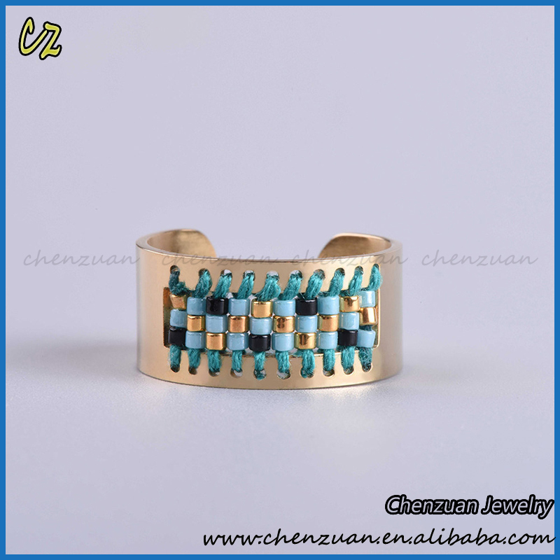 Gold Plated stainless steel interchangeable ring jewelry cheap wholesale seed Beaded stainless steel ring