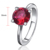 POLIVA Modern Round Cut Ruby Cubic Zircon Crystal Stone Fashion S925 Silver Ring