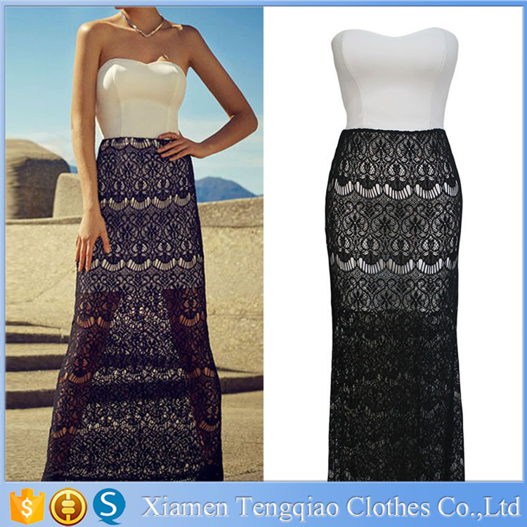 Latest Women Lace Long Skirt Design And Bandeau Mini Dress Two ...