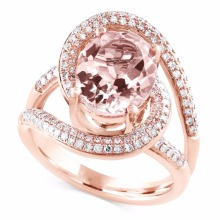 925 Sterling Silver Cubic Zirconia CZ Rose Gold Plated Oval Cut Morganite <span class=keywords><strong>Chia</strong></span> <span class=keywords><strong>Shank</strong></span> Engagement Ring