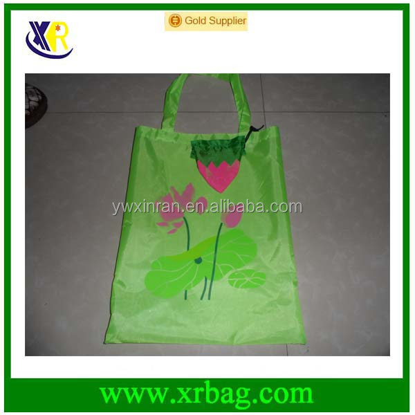 Green Flower Lotus Eco Reusable Grocery Polyester Shopping Shoulder Bags Advertisement Bag