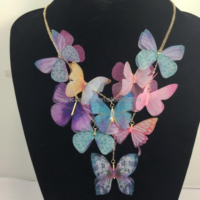 6007b50d82c6 2016 primavera hechos a mano fantastic hermosa tela girls collar de la  mariposa