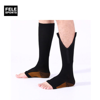 Unisex new style brown/white magic mens socks medical custom compression ankle sleeves with zip