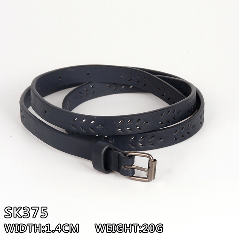 2016 hot sale cheap slim PU leather belts with engraved leaves,slim belt,lady belt