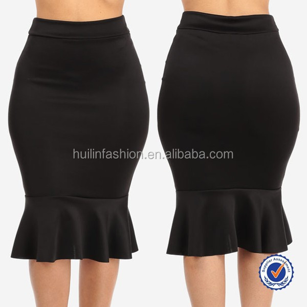 China Whole Clothing Women Plus Size Office Pencil Skirts Designs With Hem Ruffled Skirt Product On