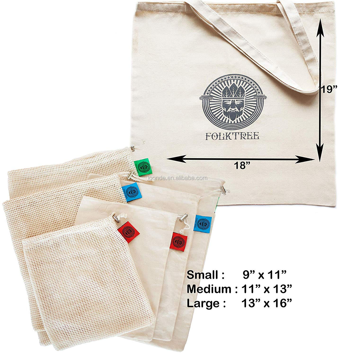 Reusable Mesh Produce Bags 3 Mesh & 3 Muslin Pouches + 1 Large Canvas Tote Washable Biodegradable Durable
