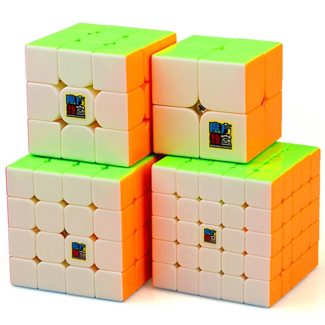 CuberSpeed Speedcubing Bundle MoFang JiaoShi MF2S 2X2 & MF3RS 3X3 & MF4S 4X4 & MF5 5X5 Stickerless Bright Magic cube Cubing Classroom Stickerless speed cube set with Gift Packing