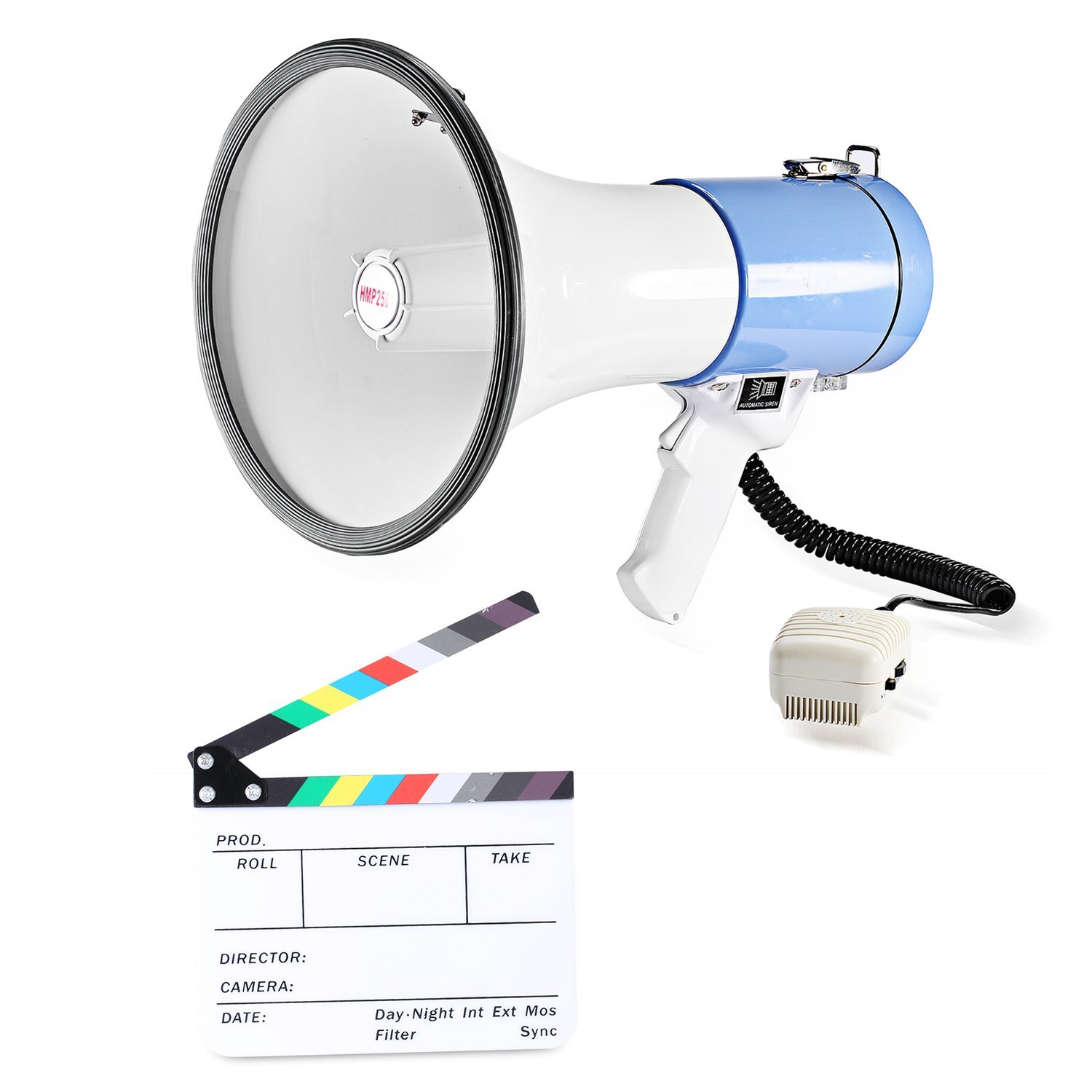 """Neewer® Film Clapboard & Megaphone Kit: (1)10x8""""/25x20cm Dry Erase Acrylic Clapboard with Color Sticks + (1)50W Megaphone with Detachable Microphone, Talk/Siren/Record Audio Mode and Audio Memory"""
