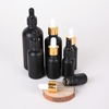 10ml 30ml plastic black dropper bottles Matt black frosted glass dropper bottle with dropper