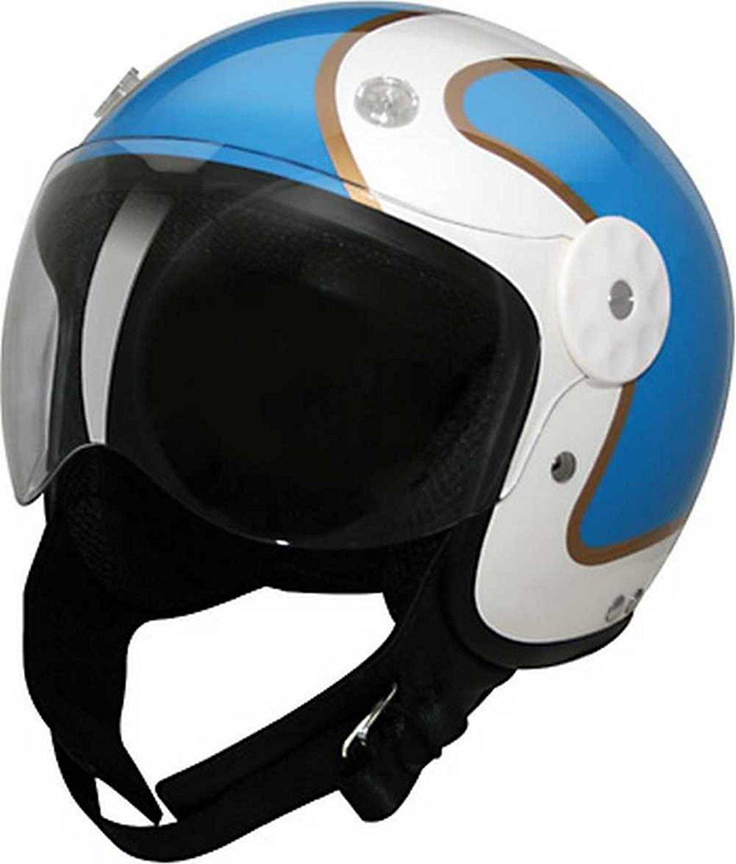 9426167e HCI Open Face Fiberglass Motorcycle Helmet Blue/Gold w/ Face Shield 15-690