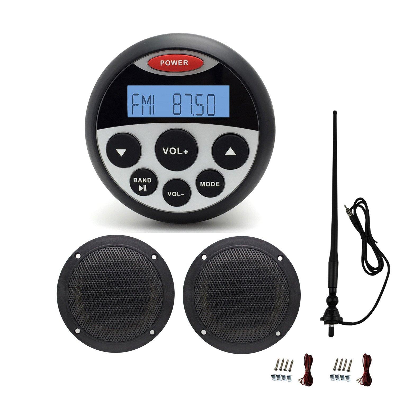 MarineMaxx Bluetooth Marine Sereo System with Speakers Gauge Style Marine Stereo MP3/USB Player FM AM AUX Input , 1 pair of 4 inch waterproof marine speaker with Marine Waterproof Antenna Black