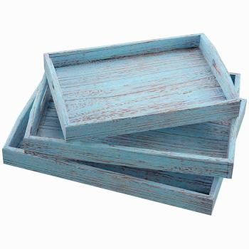 Nesting Serving Trays for Breakfast, Coffee Table/Butler Serving Trays Multipurpose Bed Serving Trays Rustic Blue