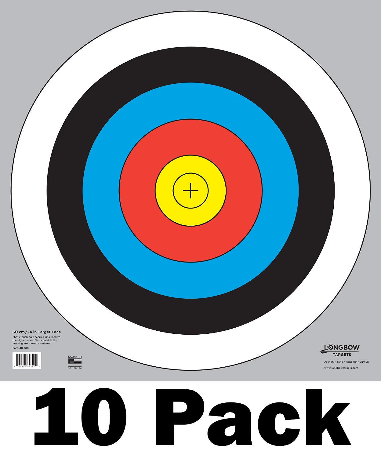 60 cm / 24 in Bullseye Archery and Gun Targets by Longbow Targets (4, 10, 25, & 100 Packs)