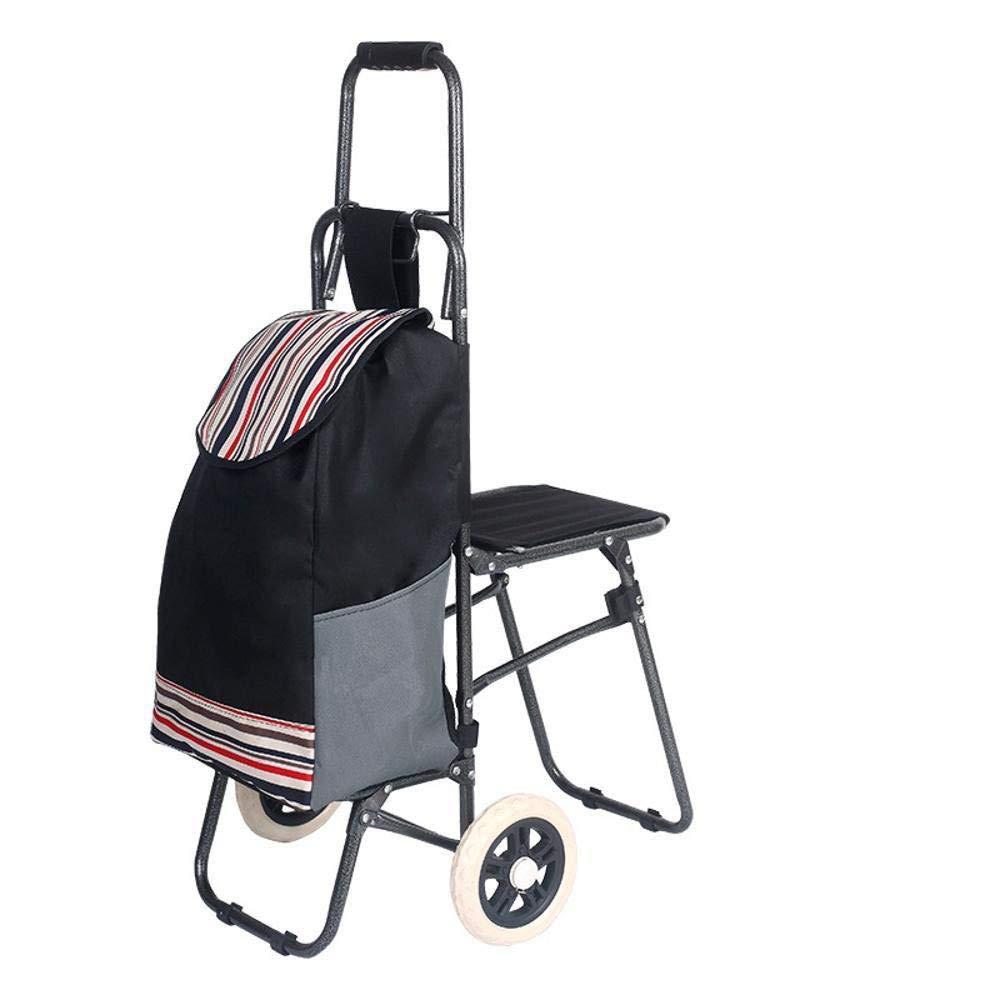 G.CHEN Folding Shopping Cart Cart Mountaineering Folding Three-wheeled Shopping Cart