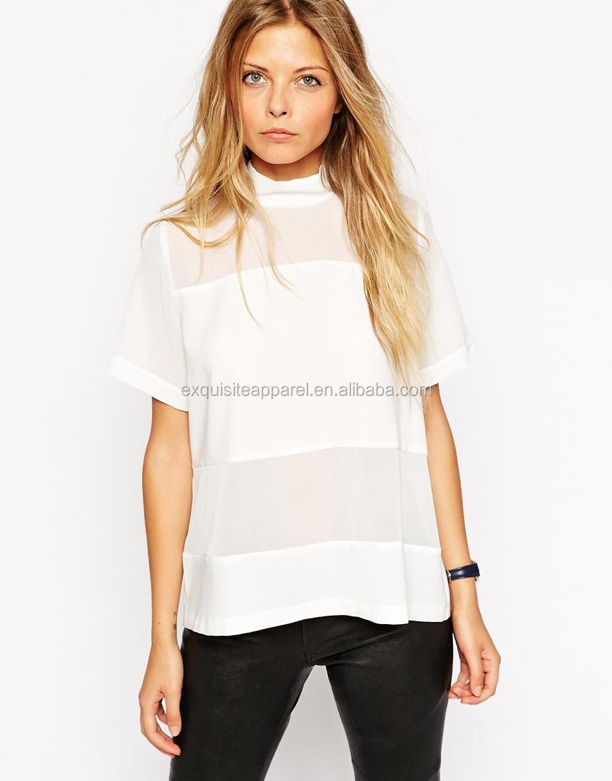 Custom Girls High Neck T Shirt/sheer White Chiffon Shirt Design ...