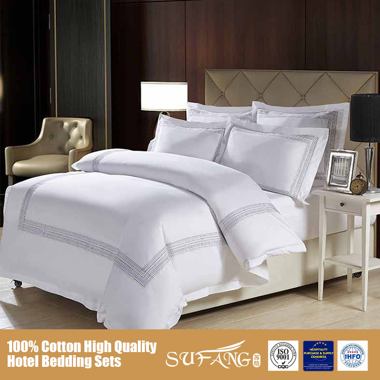 Wholesale 60S Pure Cotton Hotel Bed Sheet Sets/Double Size White Bed Linen Sets/Pillow Cover, Sufang