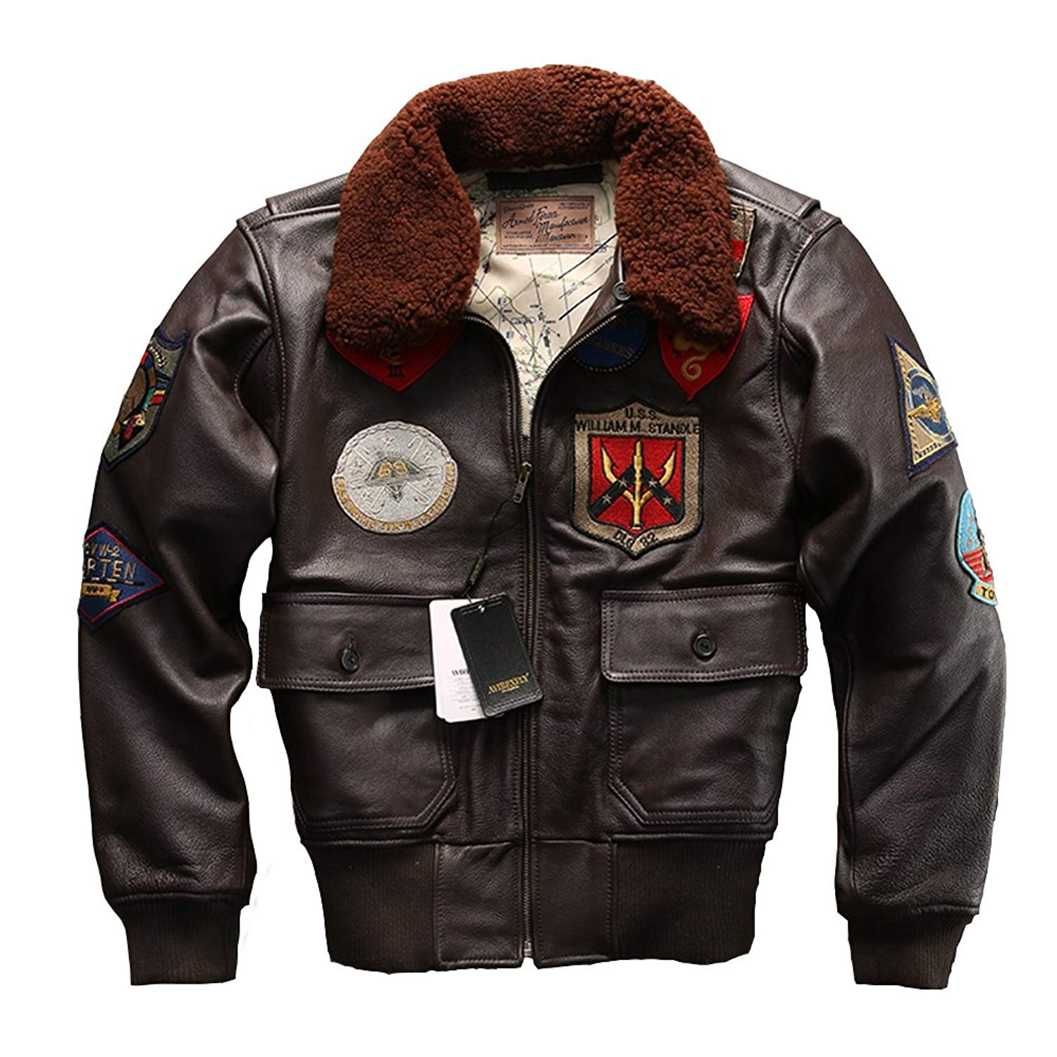 f145b9097cc Get Quotations · Avirex fly Jacket Fur Collar Genuine Leather Jacket Men  Cowskin Coat Pilot Suit Bomber Jacket