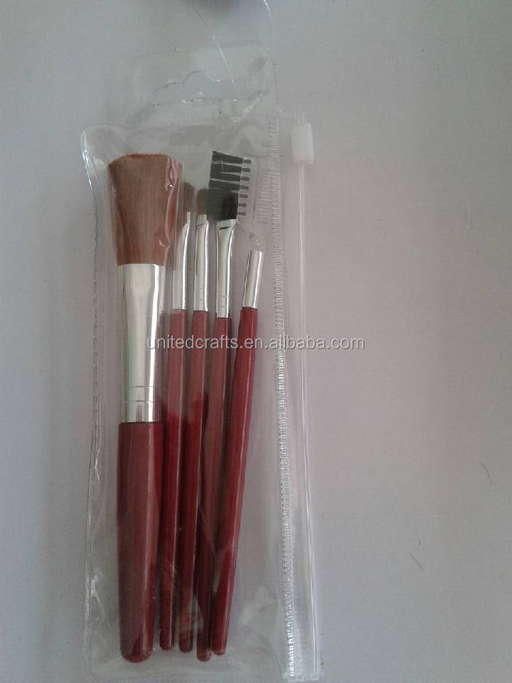 Wholesale wooden Makeup Brushes 5pcs Cheap Make Up Kits with pvc bag