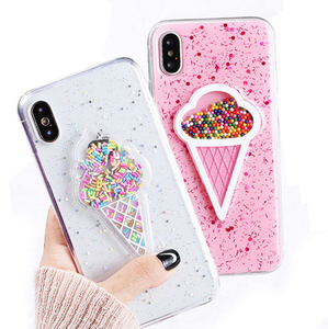Liquid Heart Glitter Powder Smile Face Clouds Phone Cases For iPhone 6 6s 7 8 Plus X Ice Cream Soft TPU Dynamic Beads Back Cover