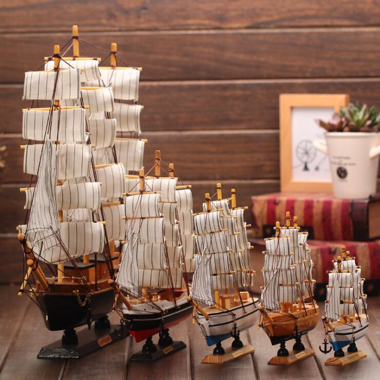 Sailboat Ship Model Craft miniature wood Handmade Art Craft For Home Office Bar Decor