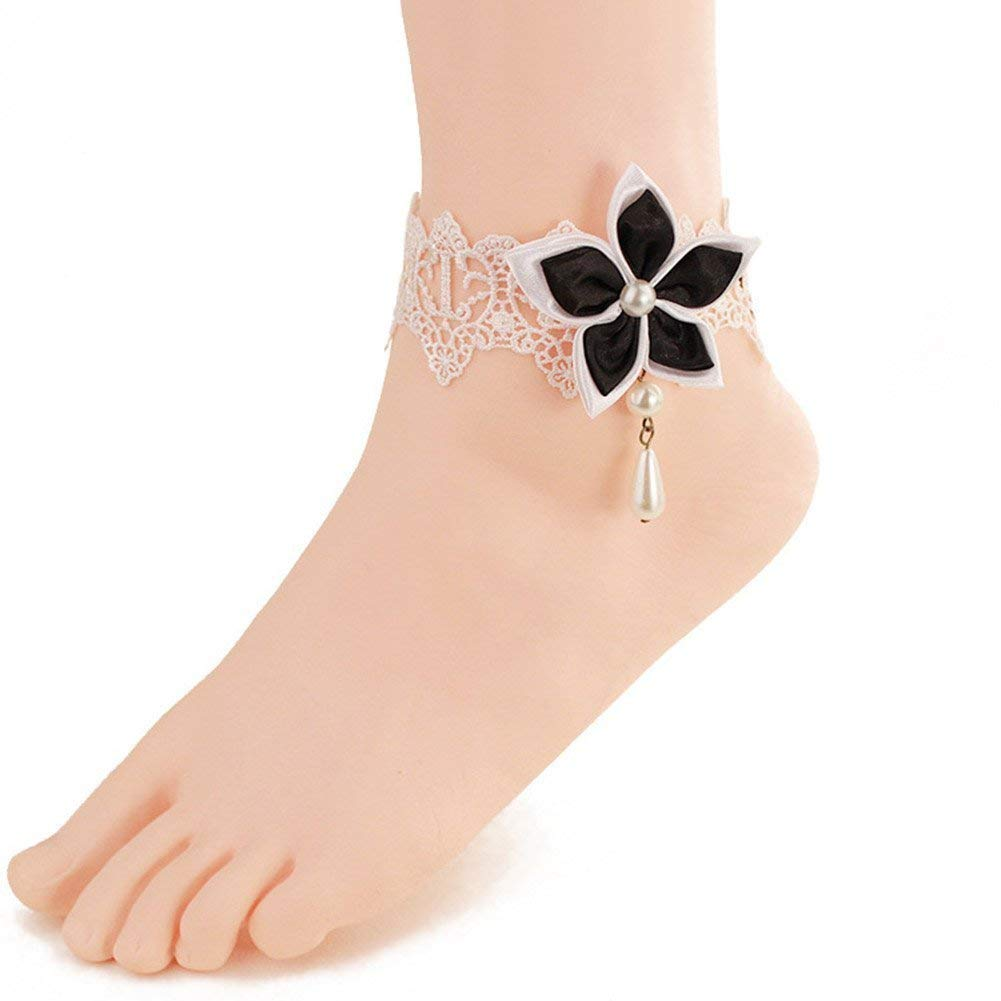 f74ae278c Get Quotations · Wowlife Black Chinese Redbud Flower Lace Ankle Ring Foot  Sandal Beach Wedding Ankle Bracelet Women Girls