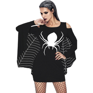 Spider Print Off-Shoulder Bat Long Sleeve Slim Costume Decoration Plus Size Halloween Dress