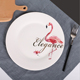 Ceramic 10inch flamingo pattern plates bone china customized art work dish with your logo