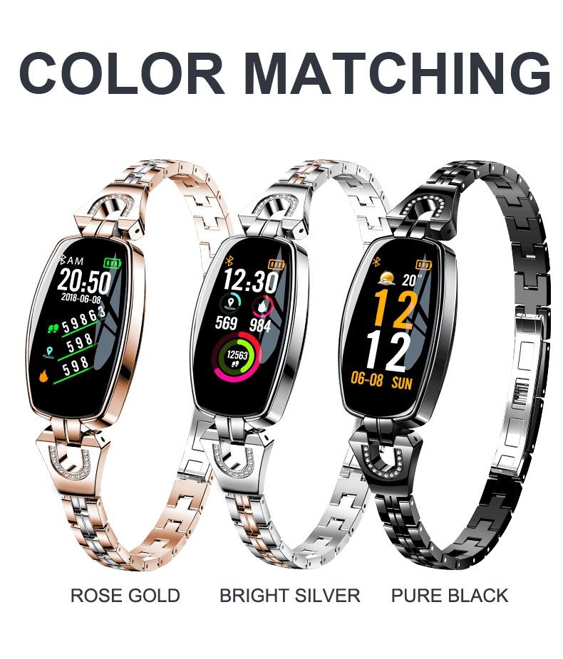 2018 Women Lady Smart Wristband H8 women Fitness bracelet Heart Rate Monitor blood pressure blood oxygen smart band best gift фото