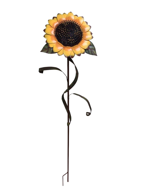 "Y&K Decor Garden Sunflower Stake Metal Yard Decor 48""Tall"