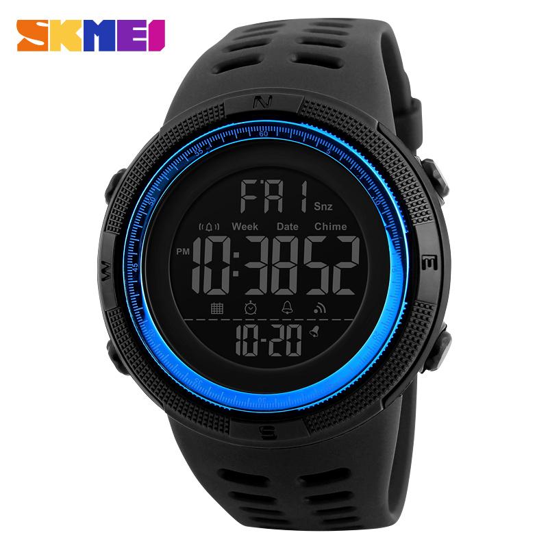 SKMEI 1251 Multifunctional Men Sport Watch 12/24 Hour LED Digital 50M Waterproof Watches Men, 6 color for you choose
