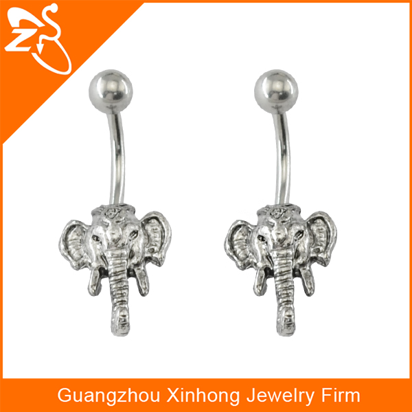 Stainless steel fashions in jewelry casting Belly Button Rings with elephant shape