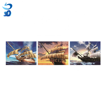 Customized flip 3d picture of boat lenticular flip picture hot sell