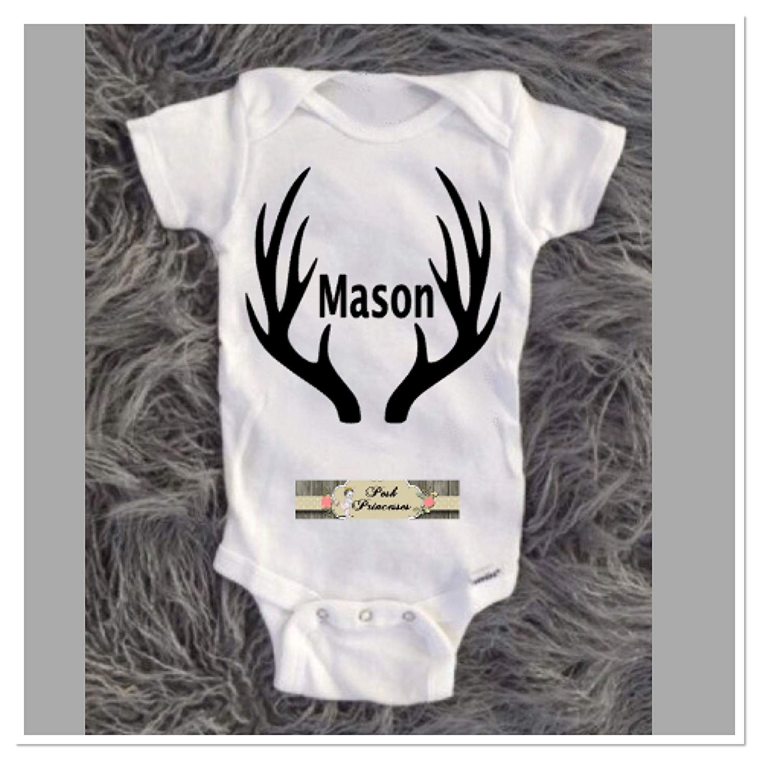 eb368bdd1 Get Quotations · Baby Boy Onesie, Deer Antler Hunting Onesie, Personalized  Deer Antler Onesie Boy Birthday Shirt